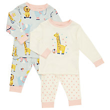 Buy John Lewis Baby Jersey Long Sleeve Circus Pyjamas, Pack of 2, Cream/Multi Online at johnlewis.com
