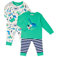 Buy John Lewis Baby Jersey Dinosaur Long Sleeve Pyjamas, Pack of 2, Green/Multi Online at johnlewis.com