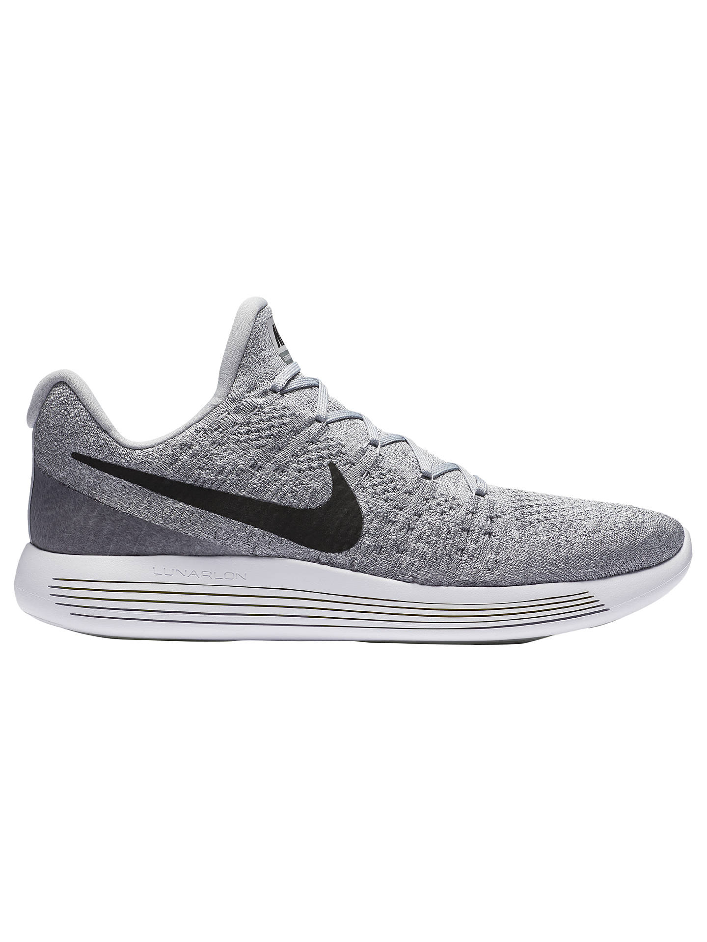 sale retailer 5ab91 8d648 Nike LunarEpic Low Flyknit 2 Men's Running Shoes, Grey/Black ...