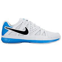 Buy Nike Air Vapor Advantage Leather Men's Tennis Shoes, White/Blue Online at johnlewis.com