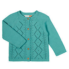 Buy John Lewis Baby Pointelle Cardigan, Teal Online at johnlewis.com