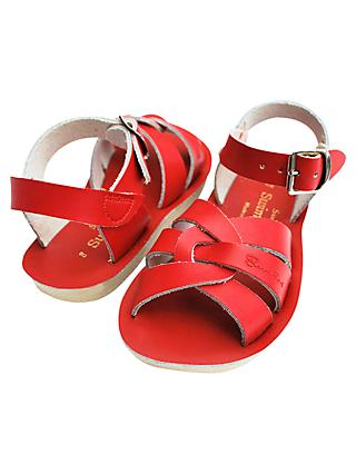 Salt-Water Children's Swimmer Leather Sandals, Red