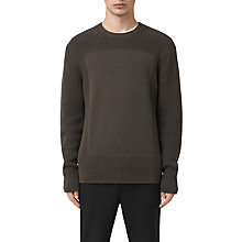 Buy AllSaints Marsk Front Panel Cotton Jumper, Khaki Brown Online at johnlewis.com