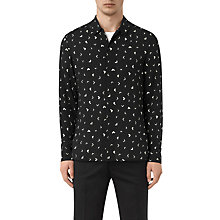Buy AllSaints Vee Abstract Long Sleeve Slim Shirt, Jet Black Online at johnlewis.com