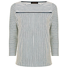 Buy Jaeger Tipped Breton Stripe Top, Navy/Ivory Online at johnlewis.com