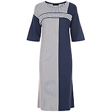 Buy Jaeger Block Stripe Knit Dress, Navy / Ivory Online at johnlewis.com