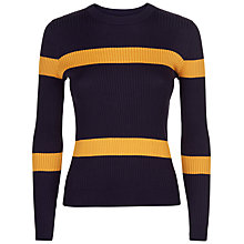 Buy Jaeger Ribbed Stripe Cropped Jumper, Navy Online at johnlewis.com
