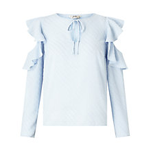 Buy Miss Selfridge Petite Cold Shoulder Blouse, Blue Online at johnlewis.com