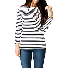 Buy Sugarhill Boutique Brighton Embroidered Hello Stripe Top, Cream/Blue Online at johnlewis.com
