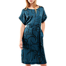 Buy Jigsaw Anarchy Print Silk Kimono Dress, Dark Lagoon Online at johnlewis.com