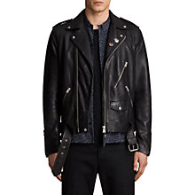 Buy AllSaints Volt Biker Leather Jacket, Black Online at johnlewis.com