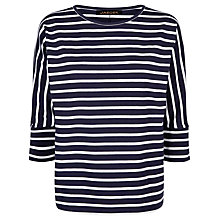 Buy Jaeger Batwing Breton Top, Navy/Ivory Online at johnlewis.com