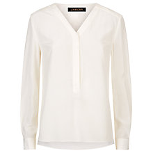 Buy Jaeger Silk Pleated V-Neck Blouse, Ivory Online at johnlewis.com