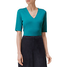 Buy L.K. Bennett Lorna V-Neck Jersey Top, Green Online at johnlewis.com