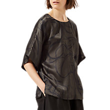 Buy Jigsaw Text Anarchy Silk Kimono Top, Dark Kale Online at johnlewis.com