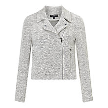 Buy Miss Selfridge Textured Biker Jacket, Stone Online at johnlewis.com