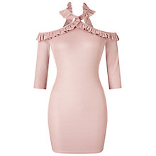 Buy Miss Selfridge Petite Frill Cross Neck Dress, Pink Online at johnlewis.com