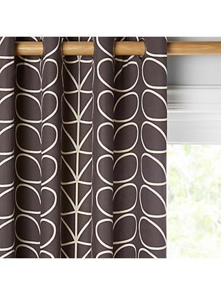 Orla Kiely Linear Stem Pair Lined Eyelet Curtains, Charcoal