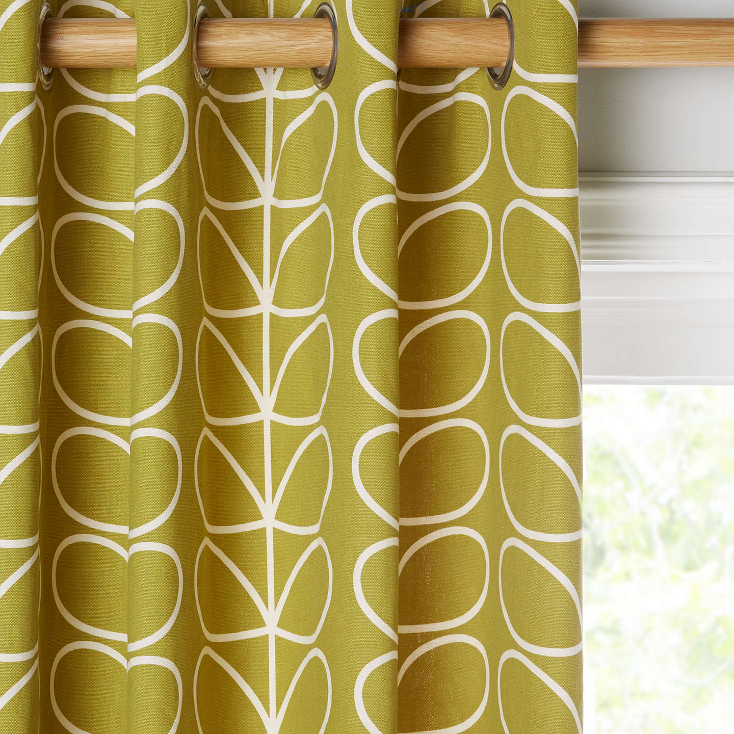 Orla Kiely Linear Stem Pair Lined Eyelet Curtains, Olive by Orla Kiely