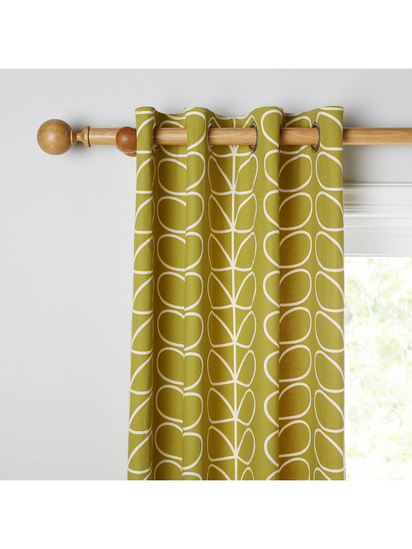BuyOrla Kiely Linear Stem Pair Lined Eyelet Curtains, Olive, W228 x Drop 274cm Online at johnlewis.com