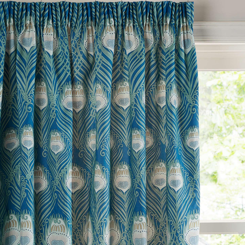 Liberty Fabrics & John Lewis Caesar Pair Lined Pencil Pleat Curtains, Blue by Liberty Fabrics & John Lewis