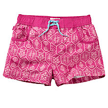 Buy Fat Face Girls' Sea Geo Print Board Shorts, Fuchsia Online at johnlewis.com