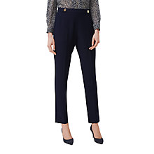 Buy L.K. Bennett Bayna Button Detail Trousers, Navy Online at johnlewis.com
