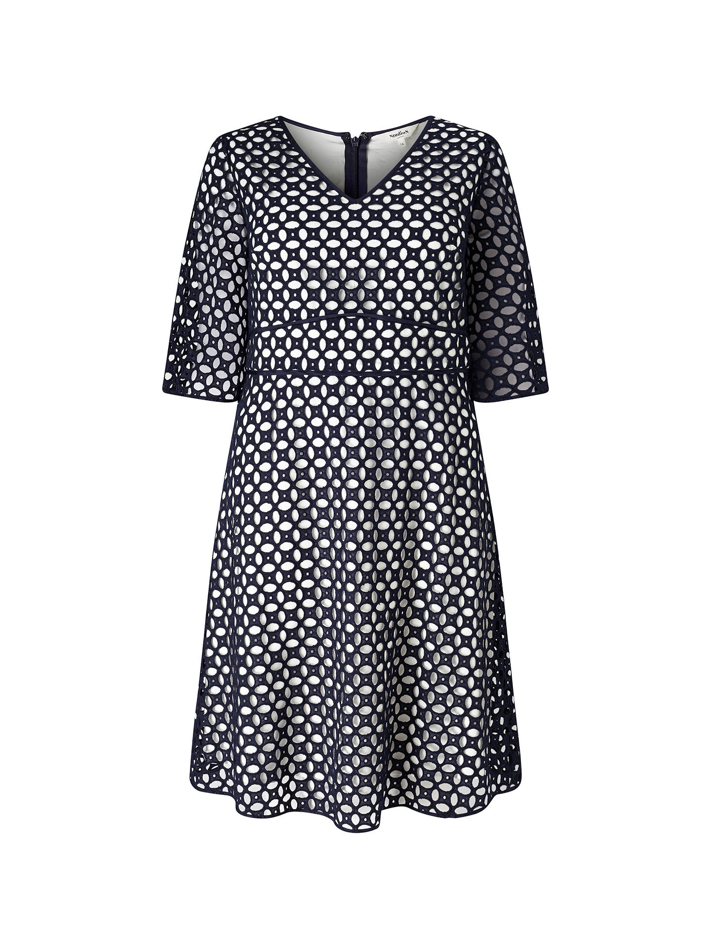 BuyStudio 8 Liza Broderie Anglais Dress, Navy/Multi, 12 Online at johnlewis.com