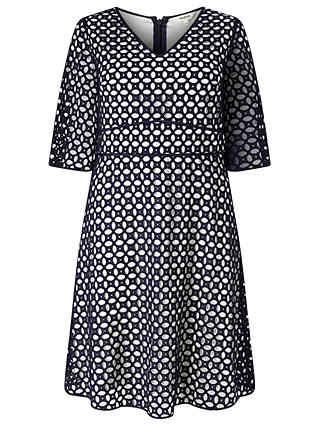 Buy Studio 8 Liza Broderie Anglais Dress, Navy/Multi, 18 Online at johnlewis.com