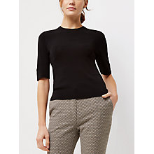 Buy Jaeger Compact Knitted Top, Black Online at johnlewis.com