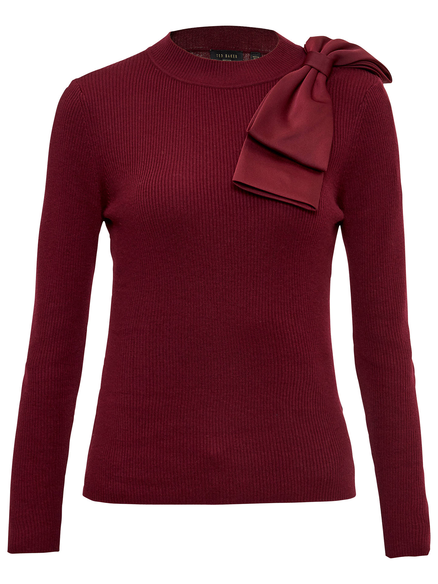 30ea06f7c3bfe6 Ted Baker Nehru Bow Detail Skinny Ribbed Jumper at John Lewis   Partners