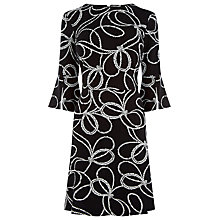 Buy Warehouse Rope Print Ponte Dress, Black Online at johnlewis.com
