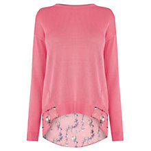 Buy Oasis Lotus Bird Woven Mix Knit, Bright Pink Online at johnlewis.com