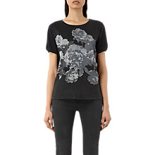 Buy AllSaints Carnea Mazzy T-Shirt, Fadeout Black Online at johnlewis.com