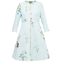 Buy Ted Baker Spring Meadow Collarless Floral Print Coat, Baby Blue Online at johnlewis.com