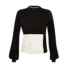 Buy Jaeger Wool Colour Block Jumper, Black/Ivory Online at johnlewis.com