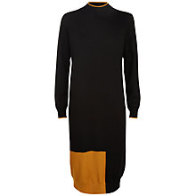 Buy Jaeger Wool Colour Block Dress, Black/Gold Online at johnlewis.com