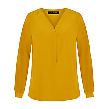 Buy Jaeger Silk Pleated V-Neck Blouse, Gold Online at johnlewis.com