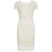 Buy Gina Bacconi Metallic Embroidered Border Dress, Light Gold Online at johnlewis.com