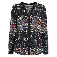 Buy Oasis Ditsy Placement Shirt, Multi/Black Online at johnlewis.com