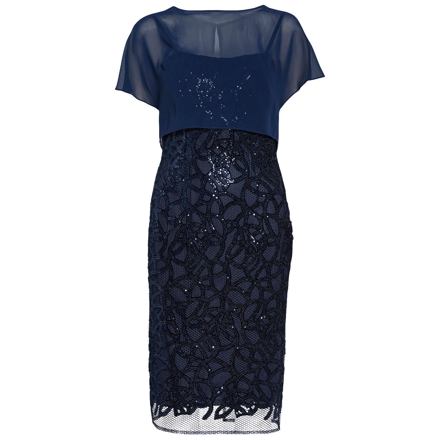 BuyGina Bacconi Sequin Dress And Chiffon Top, Spring Navy, 8 Online at johnlewis.com