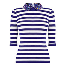 Buy Oasis Striped and Printed Collar Jumper, Multi Blue Online at johnlewis.com