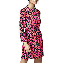 Buy Warehouse Poppy Print Waisted Dress, Pink Pattern Online at johnlewis.com