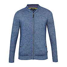 Buy Ted Baker Emmelio Ribbed Zip-Up Jumper, Dark Blue Online at johnlewis.com