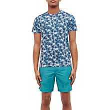 Buy Ted Baker Retro Leaf Print Cotton T-Shirt, Blue Online at johnlewis.com
