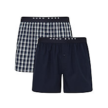 Buy BOSS Check Woven Cotton Boxers, Pack of 2, Navy Online at johnlewis.com