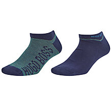 Buy BOSS AS Design Trainer Socks, Pack of 2, Blue/Green Online at johnlewis.com