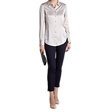 Buy Pure Collection Cecilia Pure Silk Blouse, Silver Pearl Online at johnlewis.com