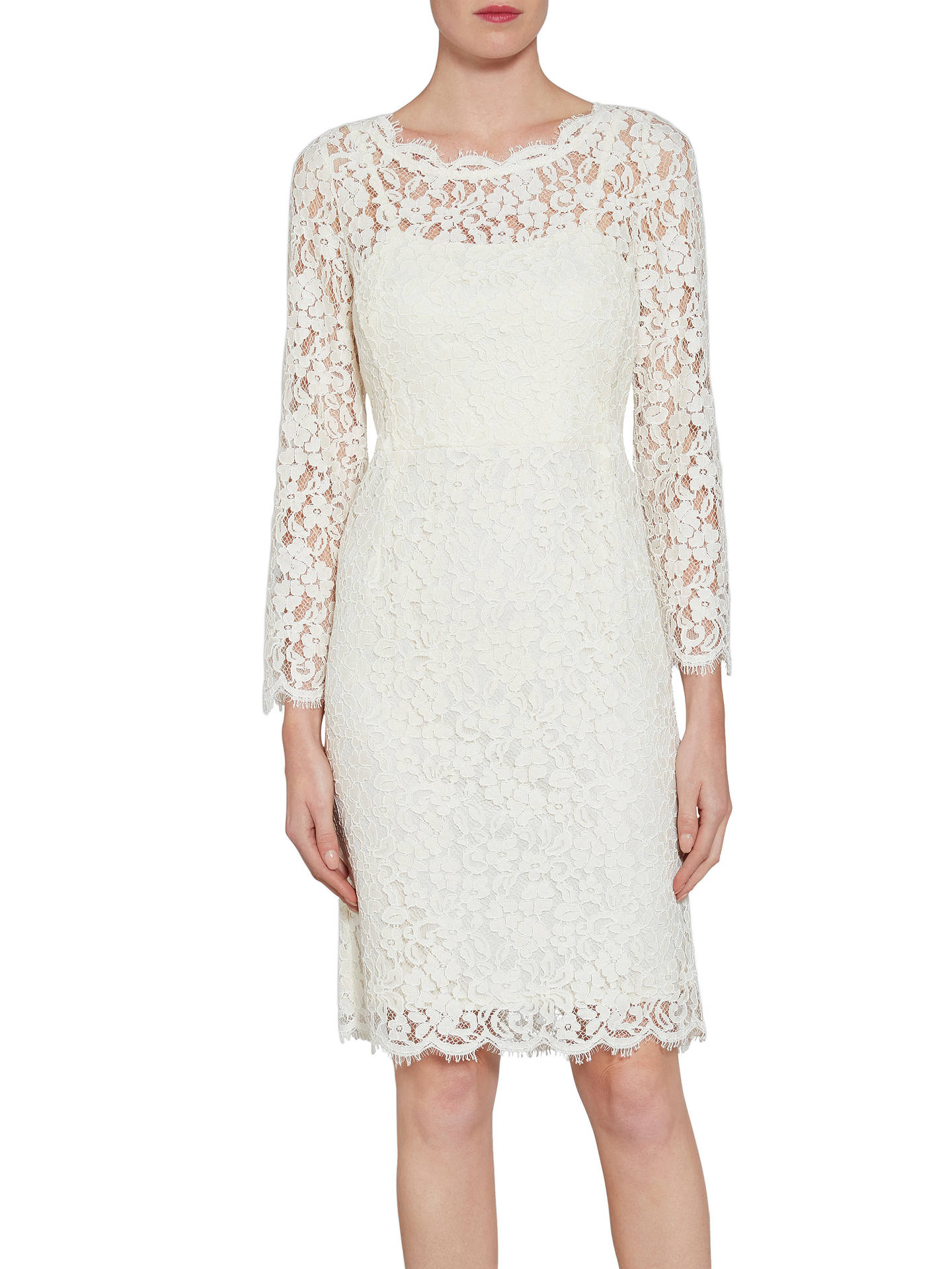 Gina bacconi lace dress with jewelled flower buttons off white at buygina bacconi lace dress with jewelled flower buttons off white 16 online at johnlewis mightylinksfo