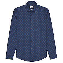 Buy Reiss Lenzan Contrast Weave Slim Fit Shirt, Navy Online at johnlewis.com